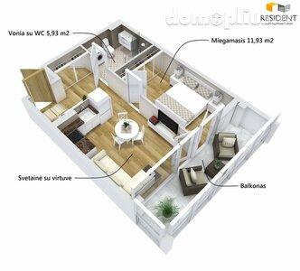 Parduodamas 2 kambarių butas Alytuje, Vidzgiryje, Santaikos g.