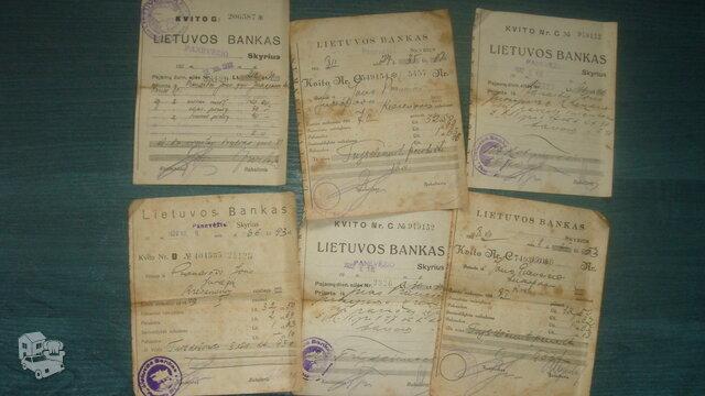 Tarpukario banko kvitai.