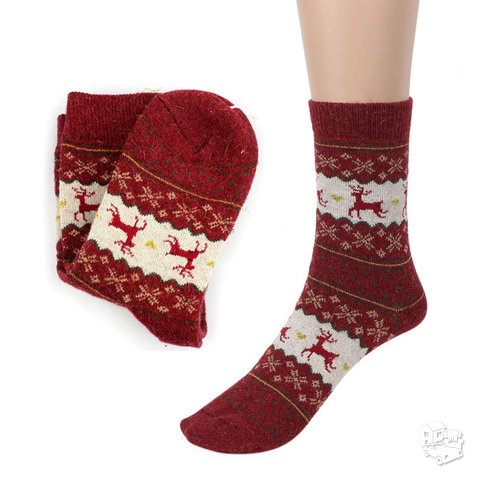 Kalėdinės moteriškos vilnonės kojinės