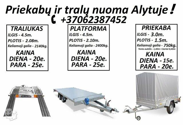 TRALIUKO NUOMA! TRALIUKO MATMENYS: ILGIS 4.50m PLOTIS 2.08m.
