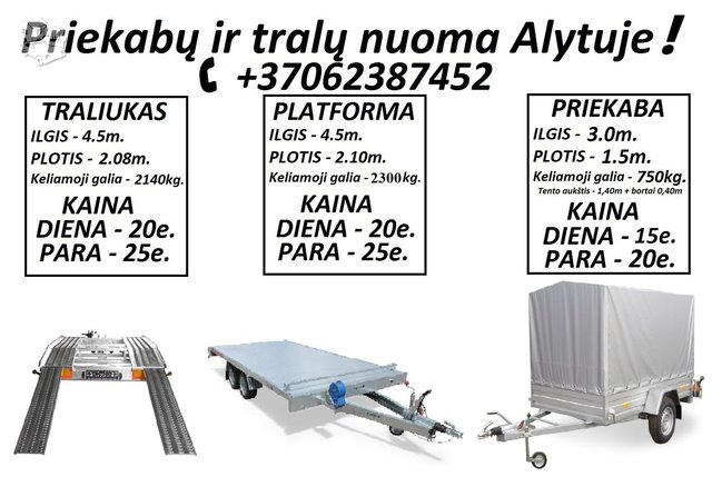 TRALIUKU NUOMA ALYTUS +37062387452 www.tralunuoma.lt  Dirbame