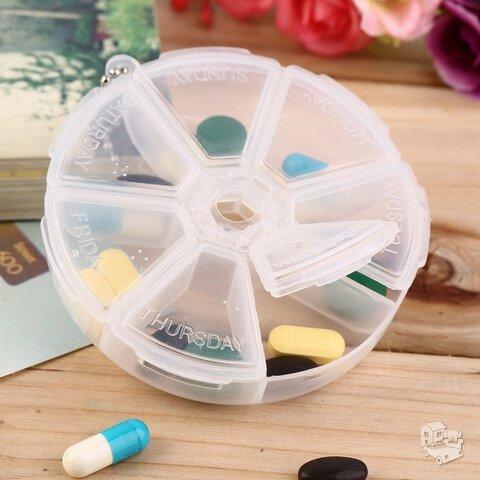 Apvali vaistų laikymo dėžutė savaitei
