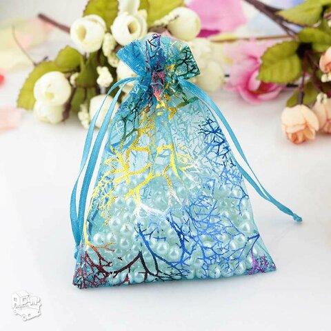Mėlyni organzos maišeliai 9x12 cm
