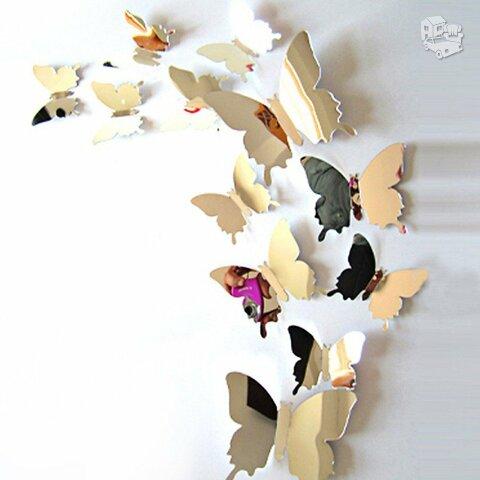 Veidrodiniai 3D sienos lipdukai drugeliai