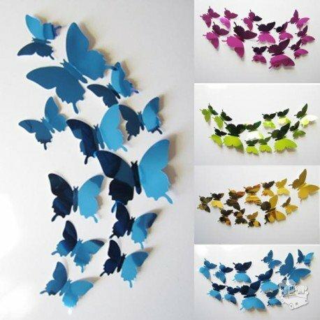 Spalvoti veidrodiniai 3D sienos lipdukai drugeliai