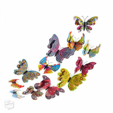 3D sienos lipdukai Spalvingi dvigubi drugeliai, 12vnt.
