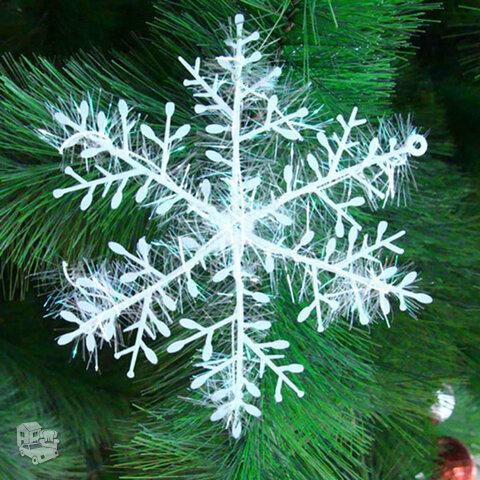 Kalėdinės plastikinės snaigės su blizgučiu, 15vnt